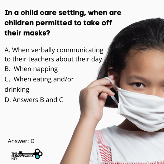 In a child care setting, when are children permitted to take off their masks?